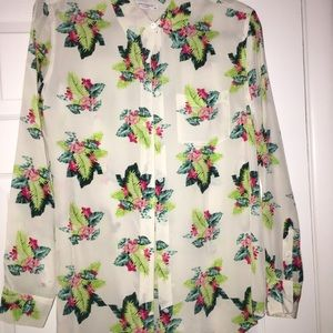 Equipment size S floral print button down 100%silk